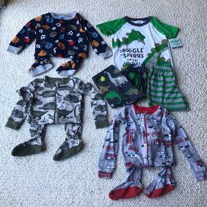Footie Pajamas & Dinosaur Matching Set Bundle 2T
